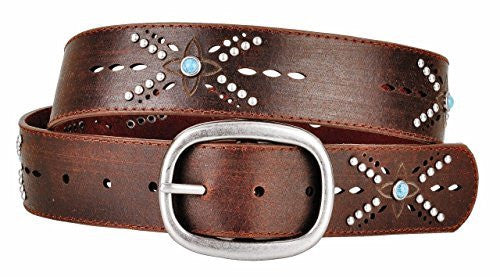 Womens Bohemian Brown Leather Belt Light Blue Studs Cut Out Design Oval Buckle