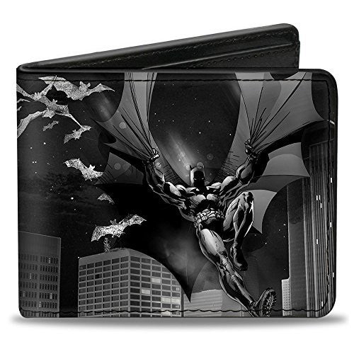 Bi-Fold Wallet - Batman Beauty of Flight Action Pose/Bats/Skyline Black/Grays