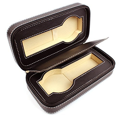 Men's Brown Leather Watch Travel Storage Case For Two Watches - Velvet Lining Zipper Closure