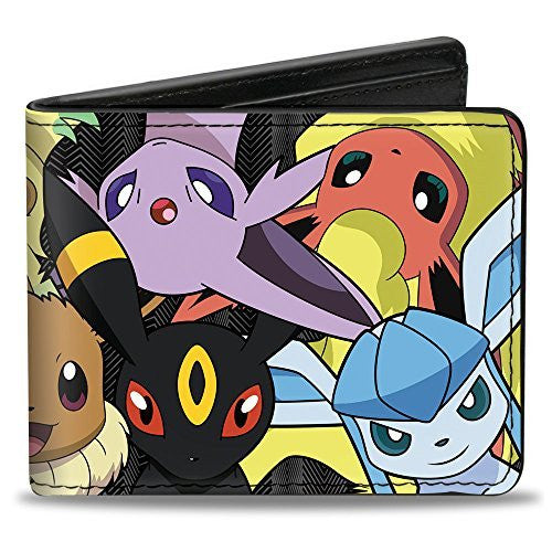 Pokemon Monsters - Eevee Evolution CLOSE-UP Stacked - Bi-Fold Wallet