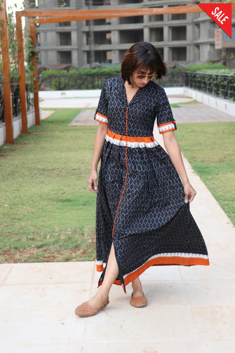 Black Cotton Kesar Dress Dress