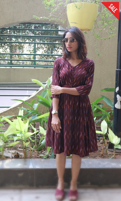 Brown Fit And Flare Dress Dress