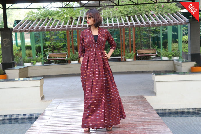 Brown Ikat Maxi Dress Dress