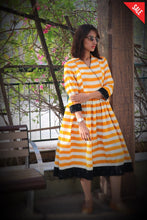Mustard - White Striped Dress Dress