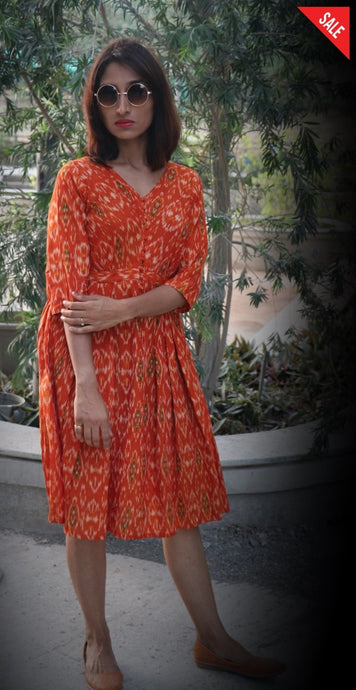Orange Fit And Flare Dress Dress