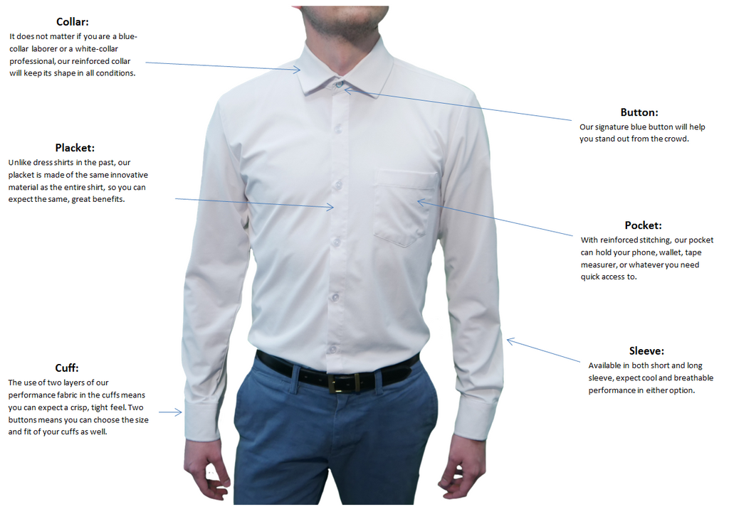 Anatomy of a Performance Dress Shirt - Front