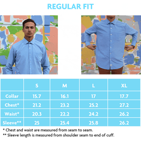 Regular Fit Sizing Chart