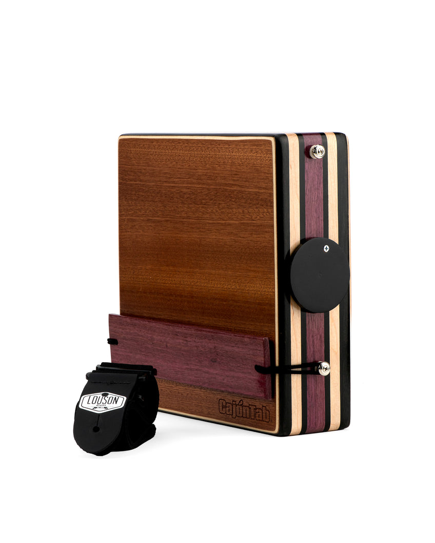 "CajonTab®️ Pro Series 12"" - Ebony, Purpleheart, Cherry with Purpleheart snare"