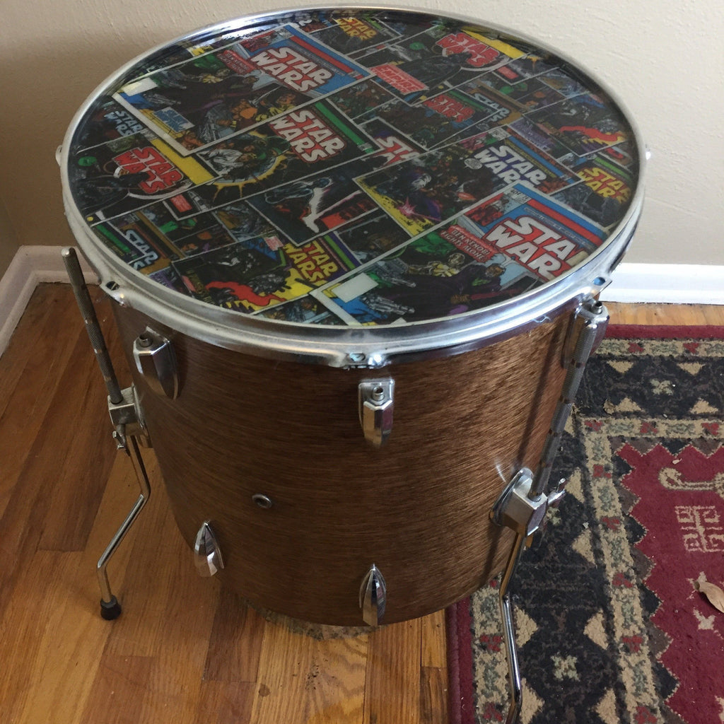 Chrome Drum Coffee Table: Floor Tom Coffee Table With Star Wars Top