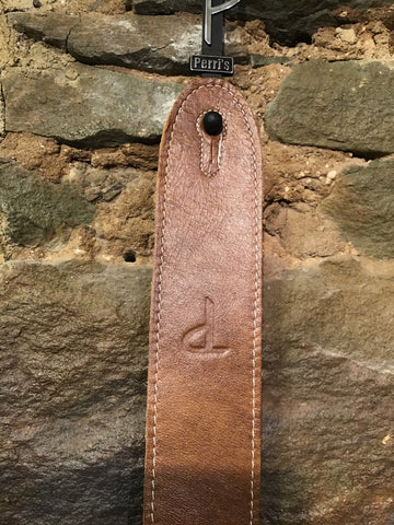 "Image of Perri's Leathers 2"" light brown Italian premium leather guitar strap"