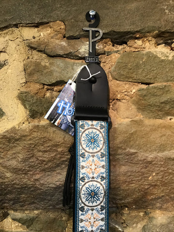 "Image of Perri's Leathers 2"" Jacquard ribbon, turquoise and orange print guitar strap"