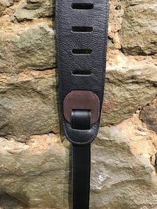 "Perri's Leathers 3"" soft brown suede with black leather pad guitar strap"