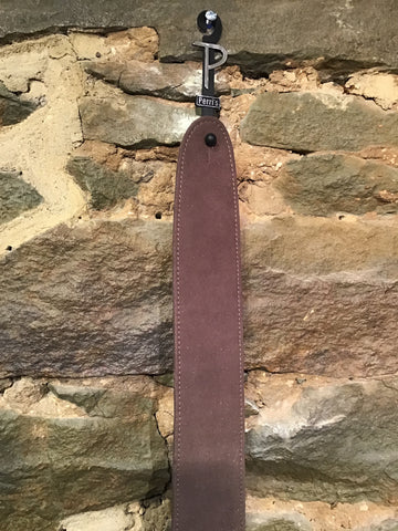 "Image of Perri's Leathers 2.5"" soft brown vegan ""leather"" guitar strap"