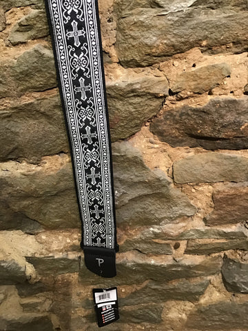 "Image of Perri's Leathers 2.5"" Jacquard ribbon, cross and rose pattern"