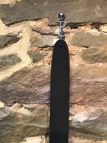 "Image of Perri's Leathers 2.5"" soft black vegan ""leather"" guitar strap"