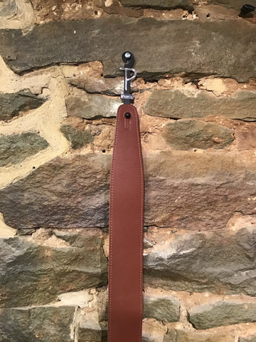 "Perri's Leathers 2.5"" smooth brown leather guitar strap"