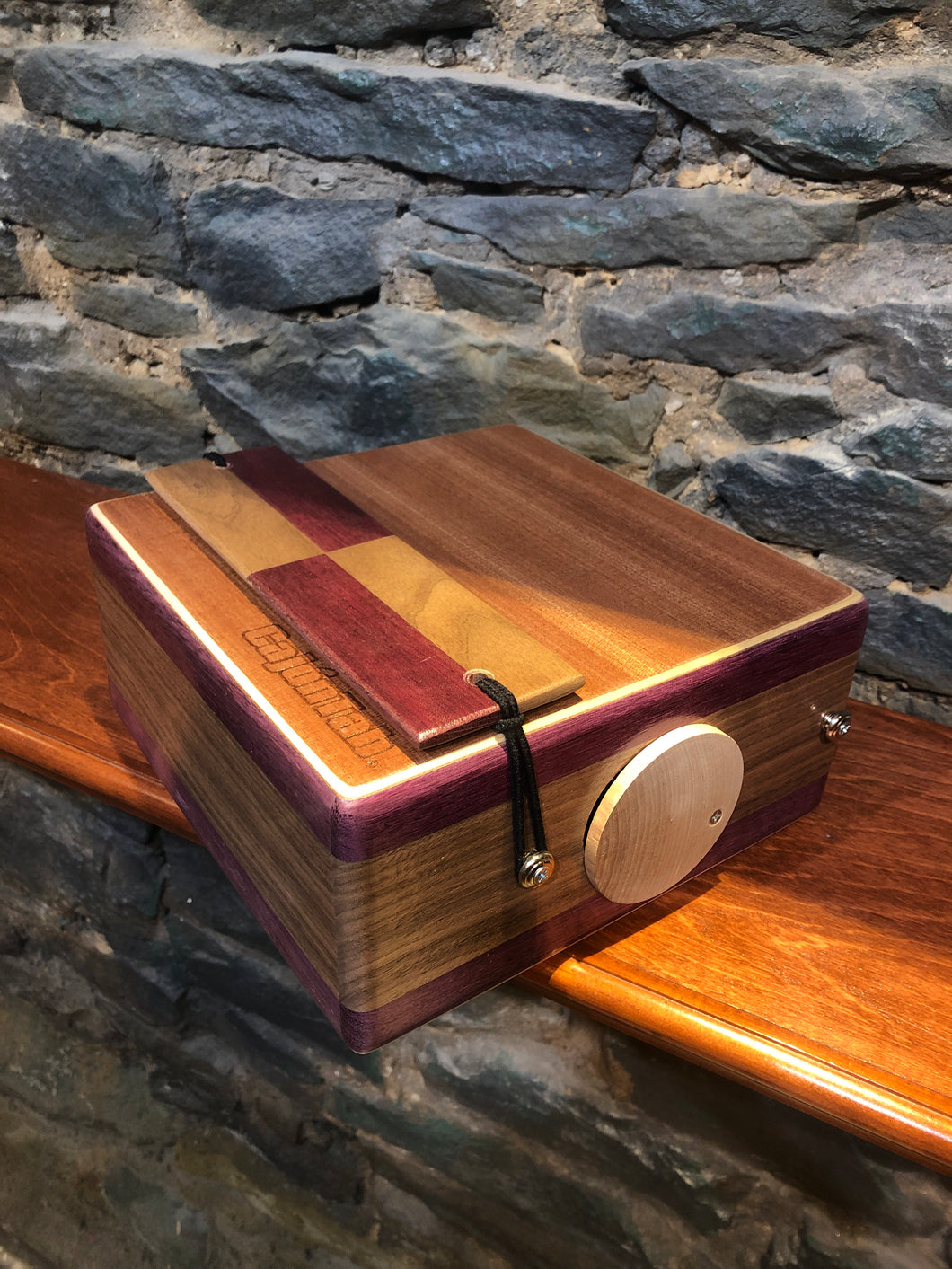 "10"" Pro Series CajonTab - purpleheart and walnut with checkered snare"