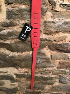"Perri's Leathers 2"" red suede leather guitar strap"
