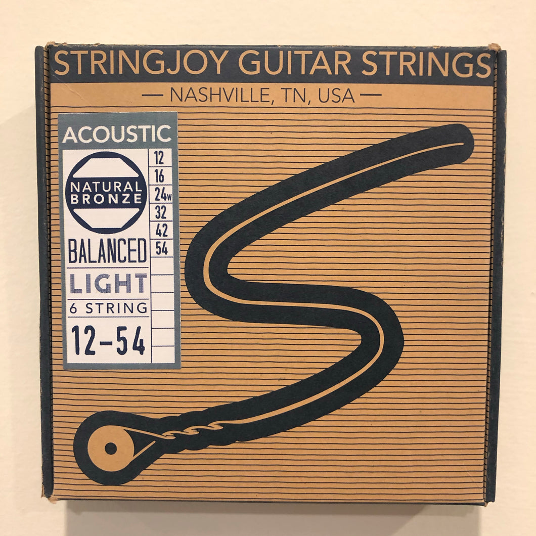 Stringjoy Guitar Strings 12-54 gauge light natural bronze acoustic guitar strings