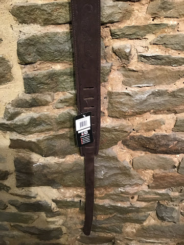 "Image of Perri's Leathers 2.5"" embossed soft brown suede guitar strap with soft tan suede backing"