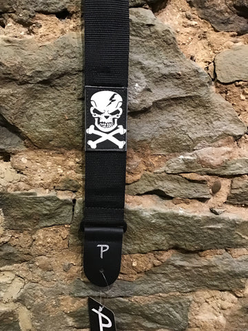 "Image of Perri's Leathers 2"" black nylon with skull patch guitar strap"