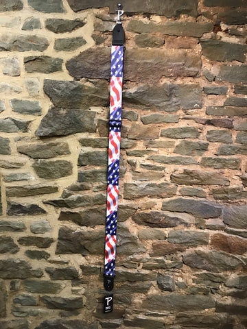 "Perri's Leathers 2"" American flag print polyester guitar strap"