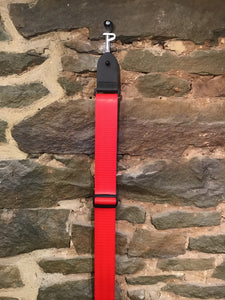 "Perri's Leathers 2"" red seatbelt guitar strap"