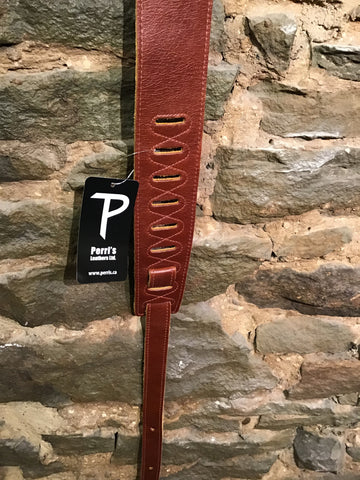 "Perri's Leathers 2.5"" soft ruddy leather guitar strap"