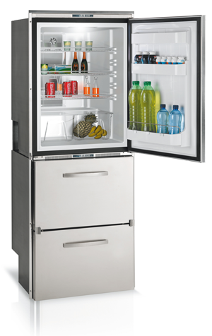 DW360IX - 10.5 cu. ft. Refrigerator with Double Drawers, Stainless Steel Front, Interior Lights, Surface Flange