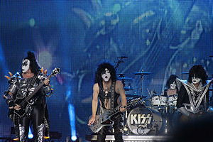 Kiss playing at Hellfest 2013, during their Monster World Tour. From left to right: Gene Simmons, Paul Stanley, Eric Singer, and Tommy Thayer