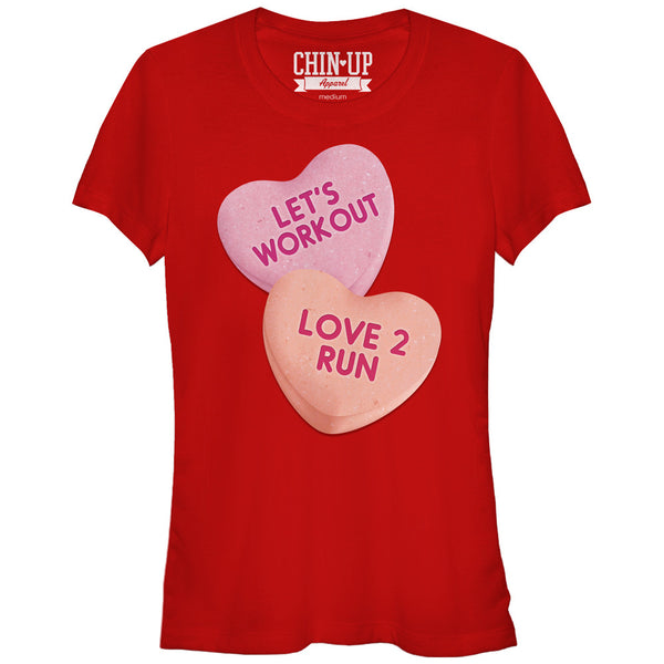 CHIN UP Valentine Heart Candy Workout Juniors Graphic T Shirt