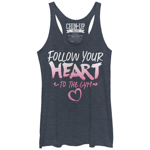 CHIN UP Valentine Follow Heart to Gym Womans Racerback Tank