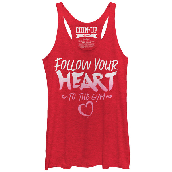 CHIN UP Valentine Follow Heart to Gym Womens Racerback Tank