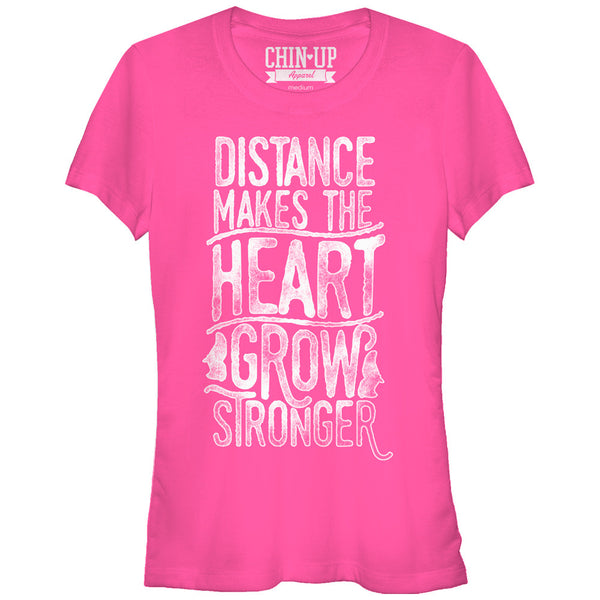 CHIN UP Valentine Distance Makes the Grow Heart Stronger Juniors T Shirt