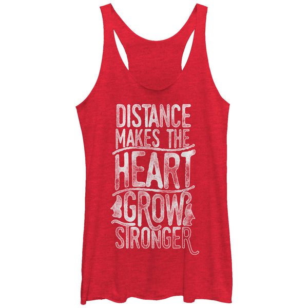 CHIN UP Valentine Distance Makes the Grow Heart Stronger Womens Racerback Tank