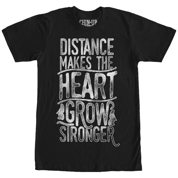 CHIN UP Valentine Distance Makes the Grow Heart Stronger Womens Boyfriend Tee