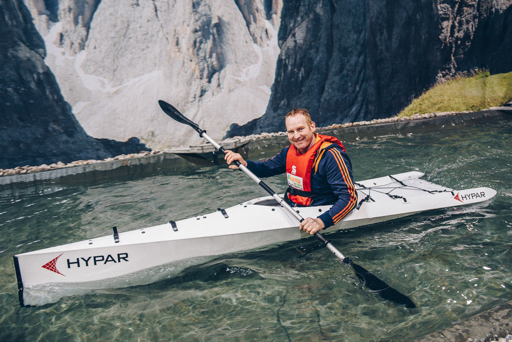 Jochen Lettmann tested HYPAR Kayak at Dusseldorf boat show 2017