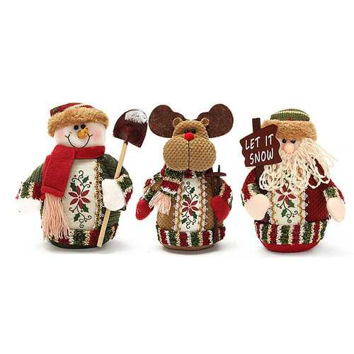 Christmas Santa Claus Snowman Deer Stuffed Doll Standing Decoration Table Ornament