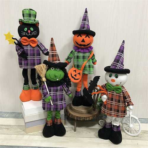 Stretchable Stuffed Plush Toy Halloween Party Cute Pumpkin Witch Decoration Toys