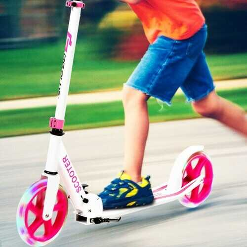 Portable Folding Sports Kick Scooter w/ LED Wheels-Pink