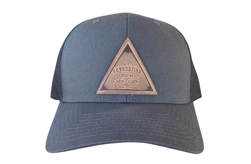 LOVE & CHAOS LEATHER PATCH TRUCKER - CHARCOAL