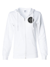 MAMA X™ TERRY ZIP UP SWEATSHIRT - WHITE WITH BLACK LEOPARD