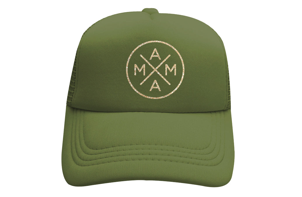 MAMA X™ TRUCKER - GREEN WITH GOLD GLITTER