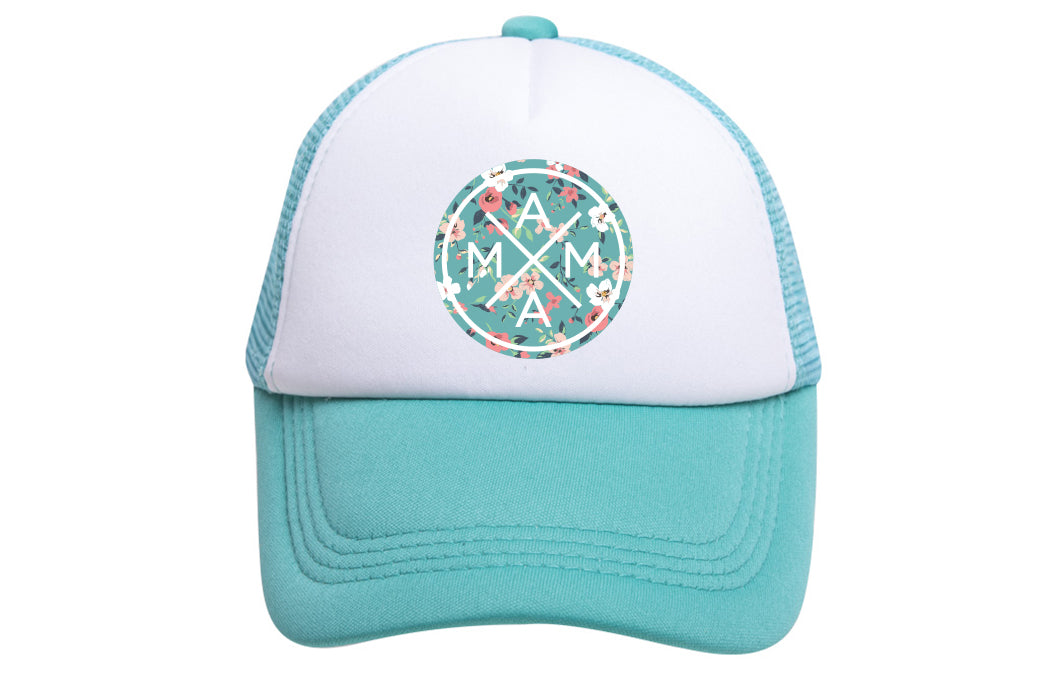 MAMA X™ TRUCKER - TEAL FLORAL