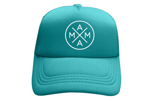 MAMA X™ TRUCKER - TEAL WITH WHITE GLITTER