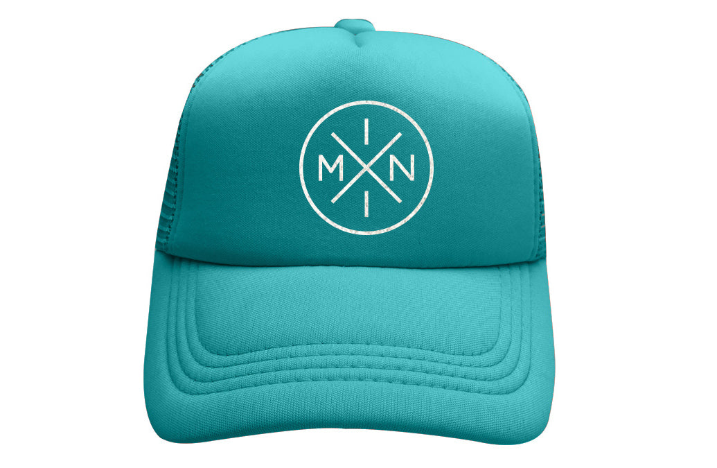 MINI X TEAL TRUCKER WITH WHITE GLITTER