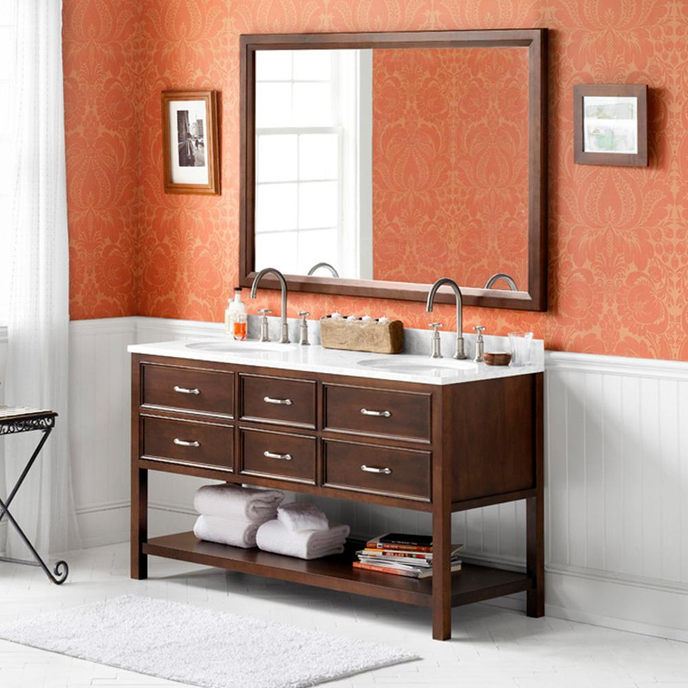 double bathroom vanity set. 60  Newcastle Double Bathroom Vanity Set In Cafe Walnut With Ceramic Sink And Mirror No Reviews S