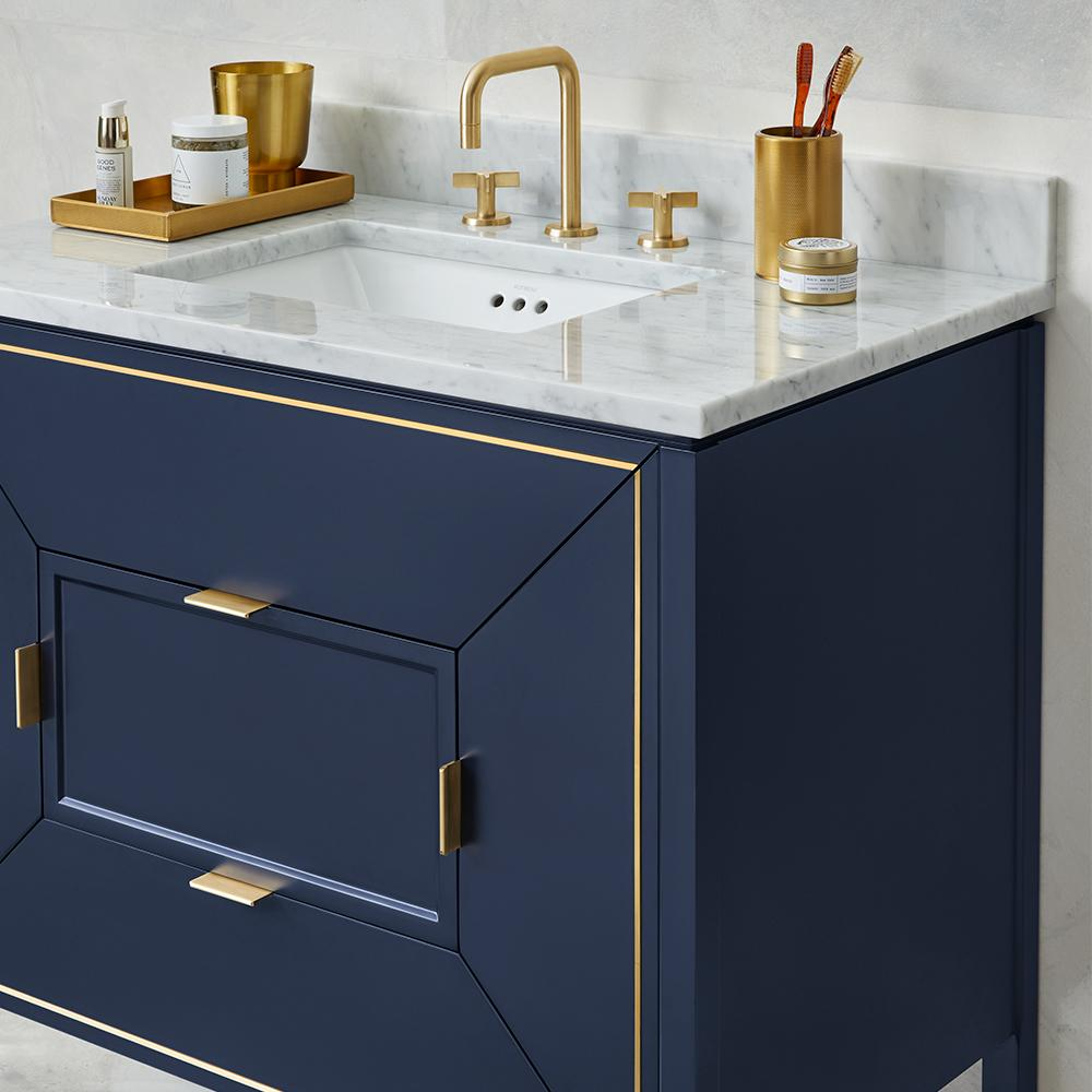 36 amora bathroom vanity set in navy with natural carrara for Blue and gold bathroom sets