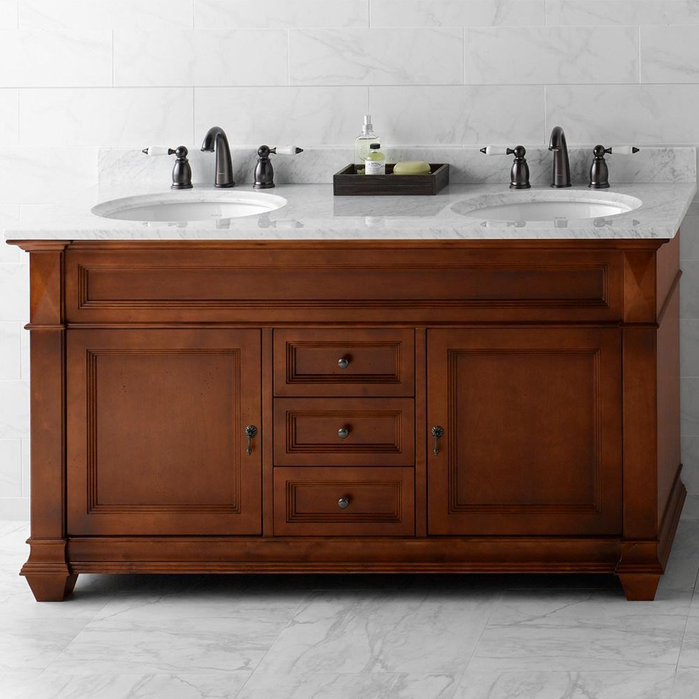 60 torino double bathroom vanity set in colonial cherry for Colonial style bathroom vanities