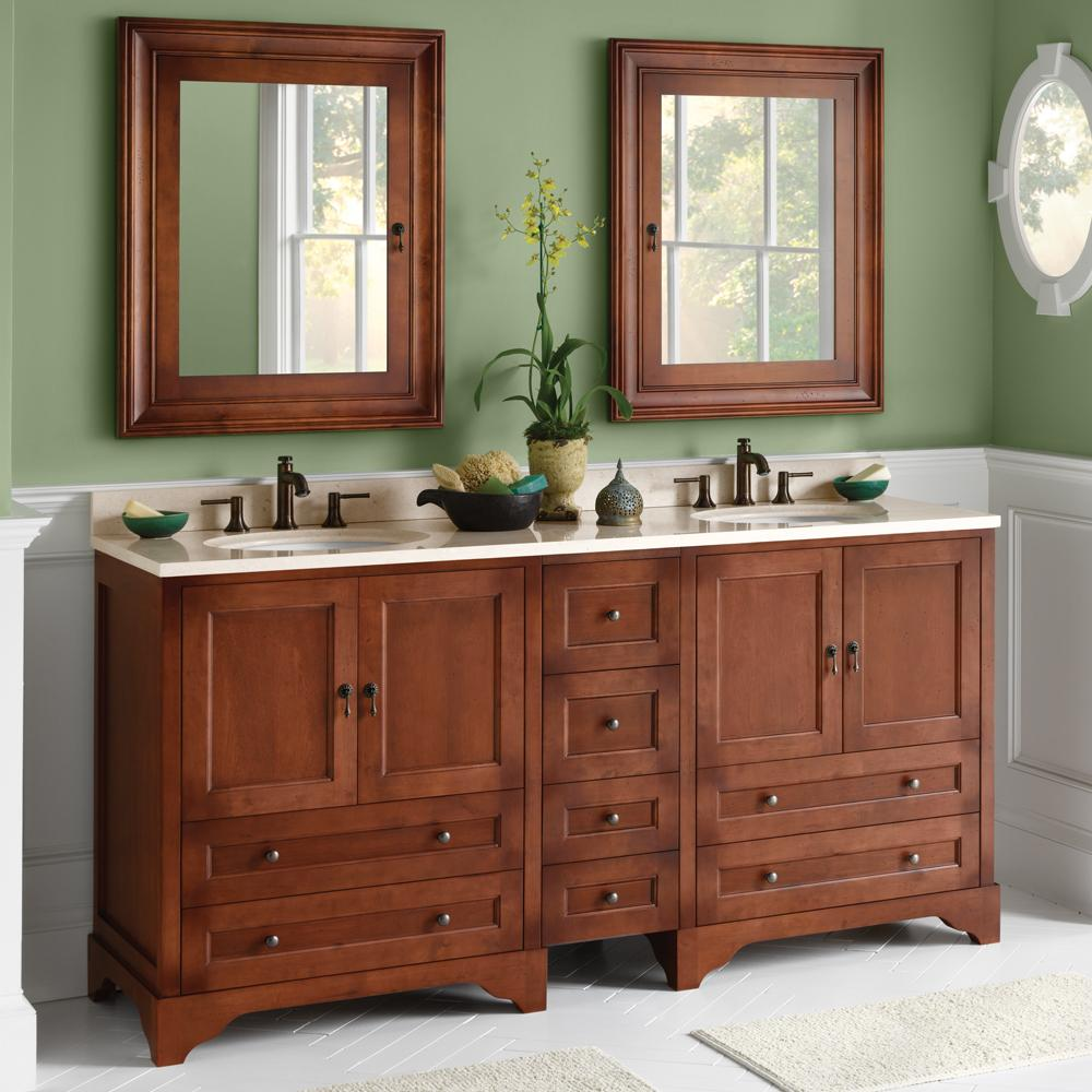 "30"" Milano Traditional Bathroom Vanity Cabinet Base In Colonial Cherry"